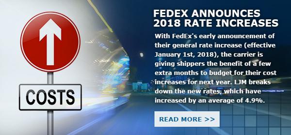 Fedex Announces 2018 Rate Increase